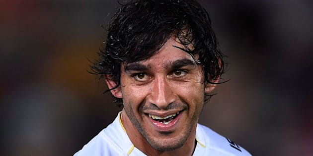TOWNSVILLE, AUSTRALIA - SEPTEMBER 19:  Johnathan Thurston of the Cowboys smiles after winning the Second NRL Semi Final match between the North Queensland Cowboys and the Cronulla Sharks at 1300SMILES Stadium on September 19, 2015 in Townsville, Australia.  (Photo by Ian Hitchcock/Getty Images)