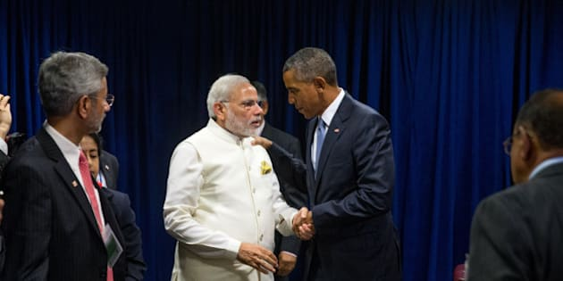 President Barack Obama and Indian Prime Minister Narendra Modi shake hands following a bilateral meeting, Monday, Sept. 28, 2015, at United Nations headquarters. (AP Photo/Andrew Harnik)