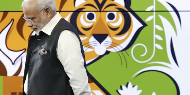 Prime Minister of India Narendra Modi speaks during a visit to Google headquarters Sunday, Sept. 27, 2015, in Mountain View , Calif.  (AP Photo/Marcio Jose Sanchez)