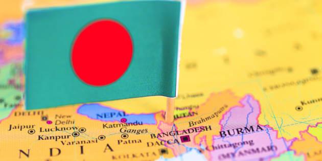 'Map and Flag of Bangladesh. Source: ''World reference atlas'''
