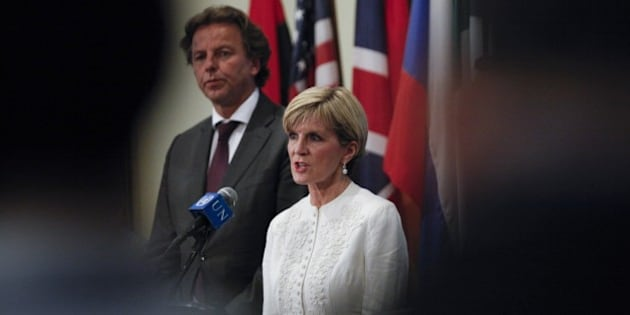 Australian Foreign Minister Julie Bishop speaks during a press conference after the Security council meeting at the United Nations Headquarters in New York on July 29, 2015. AFP PHOTO/ KENA BETANCUR        (Photo credit should read KENA BETANCUR/AFP/Getty Images)