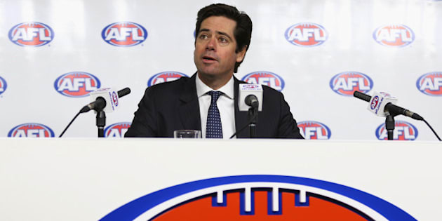 MELBOURNE, AUSTRALIA - JULY 03:  AFL CEO, Gillon McLachlan speaks to media during a press conference at AFL House on July 3, 2015 in Melbourne, Australia. Gillon McLachlan announced that the round 14 AFL match between the Adelaide Crows and the Geelong Cats would be abandoned after the death of Crows coach Phil Walsh.  Walsh was found dead after an alleged domestic dispute in his Somerton Park home in Adelaide overnight.  (Photo by Robert Cianflone/Getty Images)