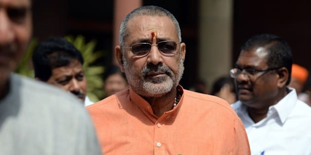 Indian Junior Minister for Micro, Small and Medium Enterprises Giriraj Singh leaves after a Bharatiya Janata Party (BJP) parliamentary committee meeting at parliament in New Delhi on April 21, 2015.  The Land Acquisition Ordinance was tabled amid opposition protest in Lok Sabha on April 20.  AFP PHOTO / PRAKASH SINGH        (Photo credit should read PRAKASH SINGH/AFP/Getty Images)