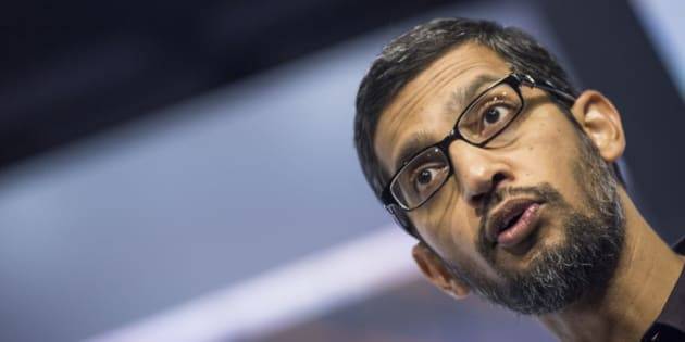 Sundar Pichai, chief executive officer of Google Inc., speaks during an event in San Francisco, California, U.S., on Tuesday, Sept. 29, 2015. Google unveiled its newest Nexus smartphones with Huawei and LG Electronics Inc. as it looks to blunt the growth of Apple Inc.'s iPhone. Photographer: David Paul Morris/Bloomberg via Getty Images