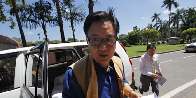 NEW DELHI, INDIA - JULY 27: Union Minister of State for Home Kiren Rijiju at Parliament House during the monsoon session on July 27, 2015 in New Delhi, India. Lok Sabha proceedings were repeatedly disrupted as the opposition once again raised the Lalit Modi and Vyapam issues, even as the speaker tried to conduct the business of the house. (Photo by Arvind Yadav/Hindustan Times via Getty Images)