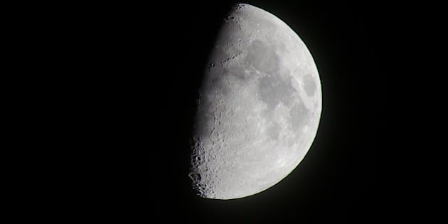my first try with the 100-300mm Pana to capture the moon (cropped)