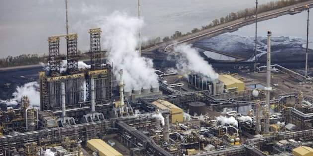 Close-up aerial photo of an oil refinery in the Alberta Oilsands, near Fort McMurray.