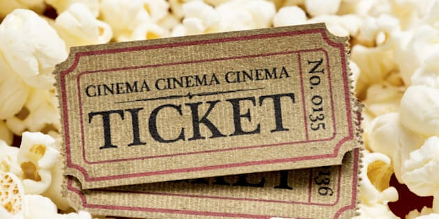 old cinema tickets and popcorn