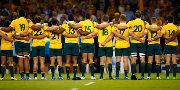 CARDIFF, WALES - SEPTEMBER 23:  Australia players line up prior to the 2015 Rugby World Cup Pool A match between Australia and Fiji at the Millennium Stadium on September 23, 2015 in Cardiff, United Kingdom.  (Photo by Laurence Griffiths/Getty Images)