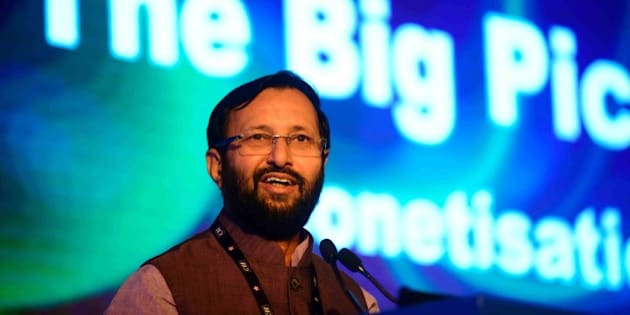 NEW DELHI, INDIA - SEPTEMBER 19: Prakash Javadekar, Minister Of State For Information & Broadcasting And Environment, Forest & Climate Change at inaugural session of CII big picture summit 2014 on September 19, 2014 in New Delhi, India. (Photo by Pradeep Gaur/Mint via Getty Images)