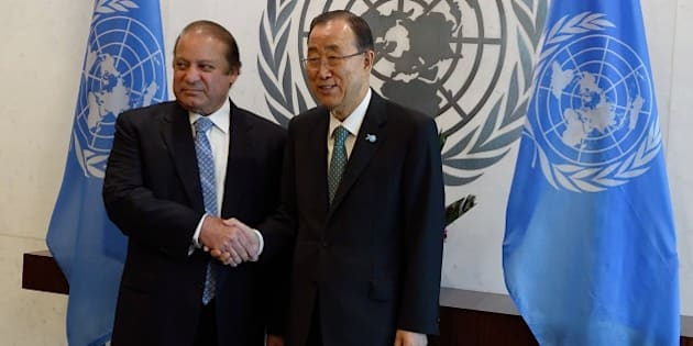 UN Secretary-General Ban Ki-moon (R) meets with Muhammad Nawaz Sharif, Prime Minister of Pakistan, on September 27, 2015 at the United Nations in New York. AFP PHOTO/DON EMMERT        (Photo credit should read DON EMMERT/AFP/Getty Images)