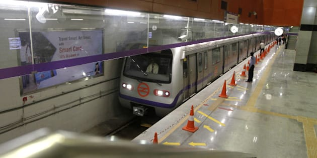 NEW DELHI, INDIA - JUNE 3: Delhi Metro Rail Corporation (DMRC) held trial runs for the newly inaugurated ITO Metro station on June 3, 2015 in New Delhi, India. The construction work on the single line, Mandi House to ITO section, was completed by Delhi Metro Rail Corporation, in January 2015. ITO station is part of the upcoming 9.37-km heritage corridor that will connect Central Secretariat to Kashmere Gate. (Photo by Virendra Singh Gosain/Hindustan Times via Getty Images)