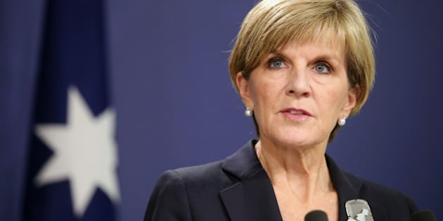 Australian Foreign Minister Julie Bishop speaks in Sydney, Monday, April 27, 2015, about the impending execution of two Australians on death row in Indonesia. Australian leaders continued to lobby Indonesia to spare the lives of drug traffickers Myuran Sukumaran, 33, and Andrew Chan, 31, facing execution by an Indonesian firing squad. (AP Photo/Rick Rycroft)