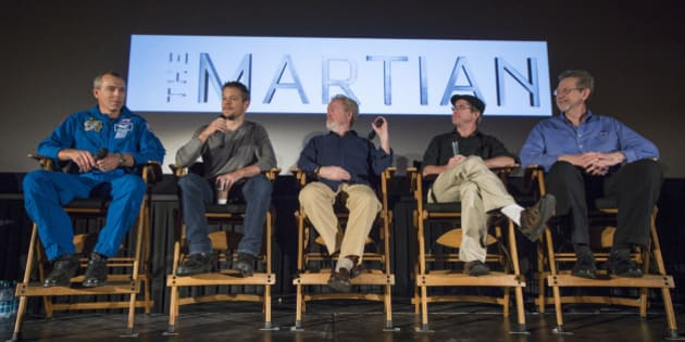LA CANADA FLINTRIDGE, CA - AUGUST 18:  In this handout provided by the National Aeronautics and Space Administration (NASA),  NASA Astronaut Drew Feustel, left, Actor Matt Damon, Director Ridley Scott, Author Andy Weir, and Director of the Planetary Science Division at NASA Headquarters Jim Green, participate in a question and answer session about NASA's journey to Mars and the film 'The Martian' August  18, 2015, at the United Artist Theater in La Canada Flintridge, California. NASA scientists and engineers served as technical consultants on the film. The movie portrays a realistic view of the climate and topography of Mars, based on NASA data, and some of the challenges NASA faces as we prepare for human exploration of the Red Planet in the 2030s. (Photo by Bill Ingalls/NASA via Getty Images)