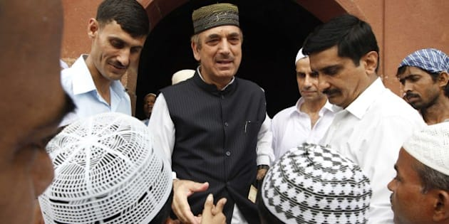 'NEW DELHI, INDIA- AUGUST 20: Ghulam Nabi Azad Union minister for Health and Family welfare after offering Namaj on the occassion of Eid at Safdarjung Tomb on August 20, 2012 in New Delhi. (Photo by Arvind Yadav/Hindustan Times via Getty Images)'