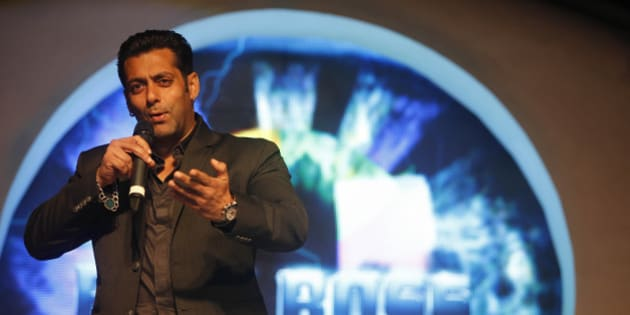 "Bollywood actor Salman Khan, speaks during an event to launch of television show 'Bigg Boss 6', in Mumbai, India, Sunday, Sept. 16, 2012. ""Bigg Boss"" is an Indian version of reality television show ""Big Brother."" It features housemates who live together for weeks isolated from outsiders while vying to avoid eviction and win a cash prize.(AP Photo/Rafiq Maqbool)"