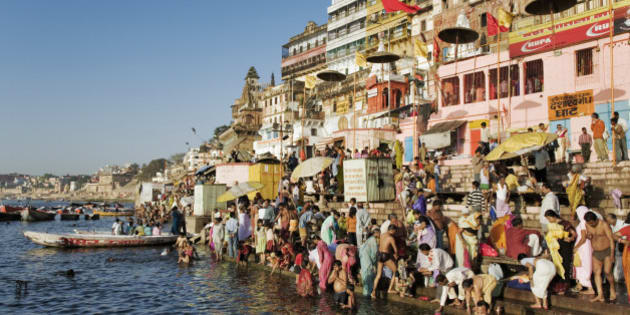 India, Varanasi, Ganges River, pilgrims on ghats