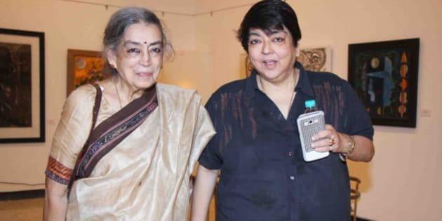MUMBAI, INDIA - JULY 21: Lalita Lajmi with her daughter Kalpana Lajmi during an art event at Kala Ghoda on July 21, 2014 in Mumbai, India. (Photo by Prodip Guha/Hindustan Times via Getty Images)