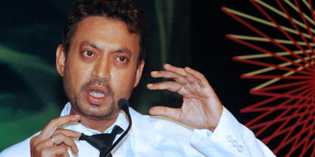 Indian cinema actor Irrfan Khan speaks at a launch party for the Bollywood film 'Acid Factory' in Mumbai late July 20, 2009. The film which includes scenes shot in South Africa stars Fardeen Khan, Aftab Shivdasani, Dino Morea, Irrfan Khan, Danny Denzongpa, Manoj Bajpai, Dia Mirza and is directed by Suparn Verma.    AFP PHOTO/STR (Photo credit should read STRDEL/AFP/Getty Images)