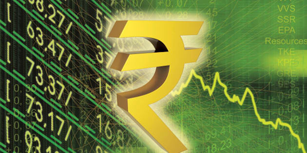 Indian rupee symbol with financial figures