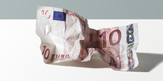 Crumpled 10 Euro Currency
