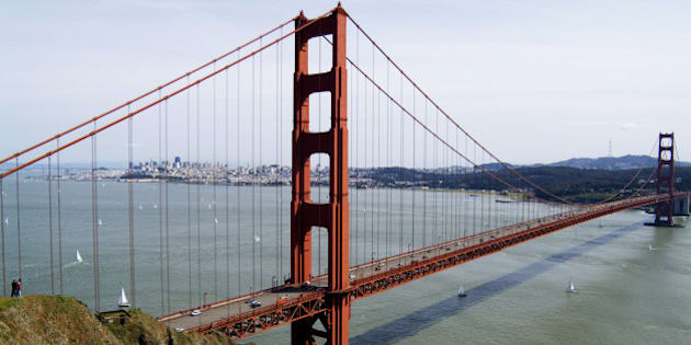 View of the Golden Gate Bridge, with San Francisco in the background.