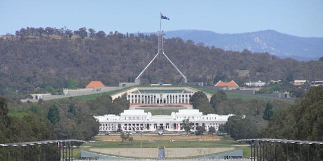 View of Old and New Parliament House Canberra taken from the Australian War Memorial. Photo taken November 2006 by Brenden Ashton.