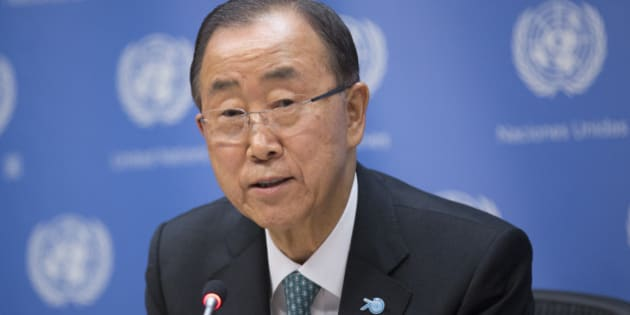 UN, NEW YORK CITY, UNITED STATES - 2015/09/27: Secretary-General Ban Ki-moon during a press briefing on Climate Change  at UN Headquarters in New York. (Photo by Luiz Rampelotto/Pacific Press/LightRocket via Getty Images)