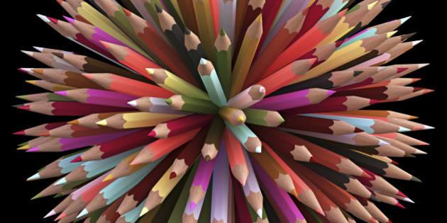 Colouring pencils, computer illustration.