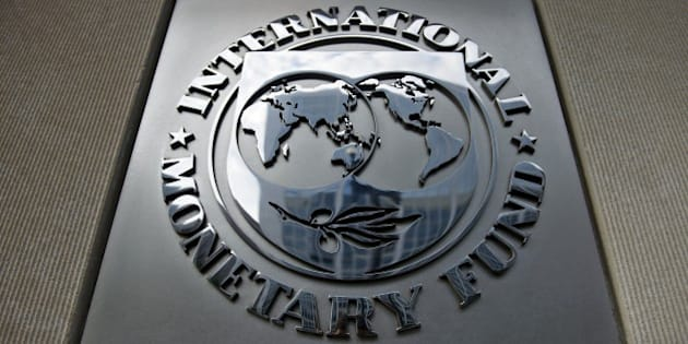 A logo is seen outside the headquarters of the International Monetary Fund June 30, 2015 in Washington, DC. AFP PHOTO/BRENDAN SMIALOWSKI        (Photo credit should read BRENDAN SMIALOWSKI/AFP/Getty Images)