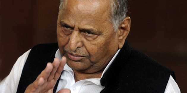 NEW DELHI, INDIA - DECEMBER 9: Samajwadi Party president Mulayam Singh Yadav at Parliament House during the Parliament winter session on December 9, 2014 in New Delhi, India. Parliament passed The Central Universities (Amendment) Bill, 2014 to establish a second central university in Bihar. (Photo by Sonu Mehta/Hindustan Times via Getty Images)