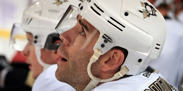 DETROIT, MI - OCTOBER 23: Pascal Dupuis #9 of the Pittsburgh Penguins looks up at the score board from the bench during a NHL game against the Detroit Red Wings on October 23, 2014 at Joe Louis Arena in Detroit, Michigan. (Dave Reginek/NHLI via Getty Images)