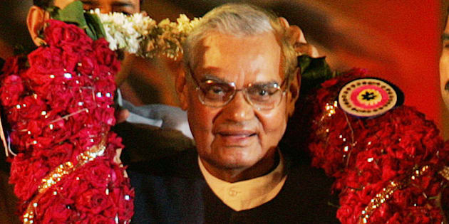 Former Indian Prime Minister Atal Bihari Vajpayee, and leader of Bharatiya Janta Party or BJP, is garlanded during the 25th anniversary celebration of the party in Bombay, India, Thursday, Dec. 29, 2005. Vajpayee told his supporters late Thursday that he will no longer fight an election. (AP Photo/Rajesh Nirgude)