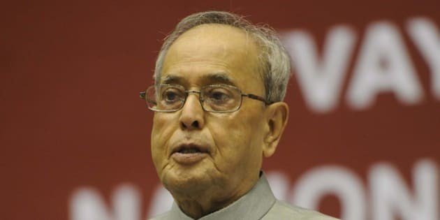 NEW DELHI,INDIA OCTOBER 01: The President, Pranab Mukherjee conferred the Vayoshreshtha Samman 2015 on Senior Citizens, on the occasion of the International Day of Older Persons, in New Delhi.(Photo by Yasbant Negi/India Today Group/Getty Images)
