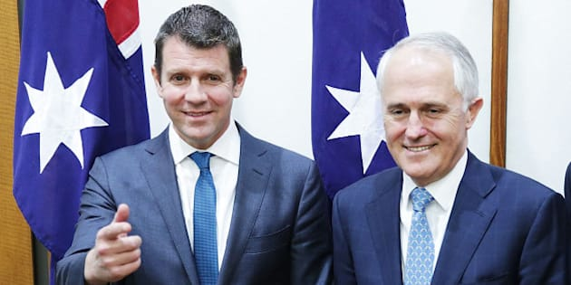 CANBERRA, AUSTRALIA - SEPTEMBER 16:  NSW Premier Mike Baird, Prime Minister Malcolm Turnbull and Victorian Premier Daniel Andrews pose for photos after the signing of the National Disability Insurance Scheme at Parliament House on September 16, 2015 in Canberra, Australia. Malcolm Turnbull was sworn in as Prime Minister of Australia on Tuesday, replacing Tony Abbott following a leadership ballot on Monday night.  (Photo by Stefan Postles/Getty Images)
