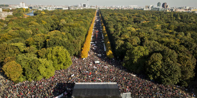BERLIN, GERMANY - OCTOBER 10:  More than 100.000 protesters gather to demonstrate against the TTIP and CETA trade accords on October 10, 2015 in Berlin, Germany. Tens of thousands took to the streets in Berlin to protest against TTIP (Transatlantic Trade and Investment Partnership) and CETA (Comprehensive Economic and Trade Agreement), both of them trade agreements currently under negotiation between the USA for TTIP and Canada for CETA with the European Union. Critics in Germany oppose the accords for a number of reasons, including fears over genetically-modified foods, environmental standards, workers' rights and pharmaceuticals. Photo by Axel Schmidt/Getty Images