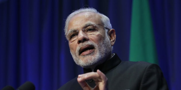 Indian Prime Minister Narendra Modi speaks during a joint press conference with Irish Prime Minister Enda Kenny at Government Buildings, Dublin, Ireland, Wednesday, Sept. 23, 2015. Modi is in Ireland for high level talks focusing on strengthening economic, trade and investment between the two countries.  (AP Photo/Peter Morrison)