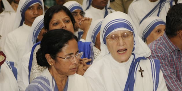 KOLKATA, INDIA - JUNE 23: West Bengal Chief Minister Mamata Banerjee arrives to pay her respect to Missionaries of Charity head Sister Nirmala, at ST Johns Church on June 23, 2015 in Kolkata India. The 81-year-old nun took over the running of the charity after Mother Teresa died in 1997 and ran it for 12 years before Sister Mary Prema took over in 2009. (Photograph by Subhankar Chakraborty/ Hindustan Times via Getty Images)