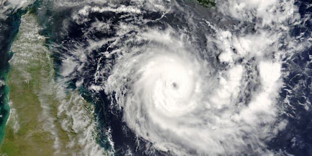 Terra satellite image of tropical cyclone Ingrid in Coral Sea