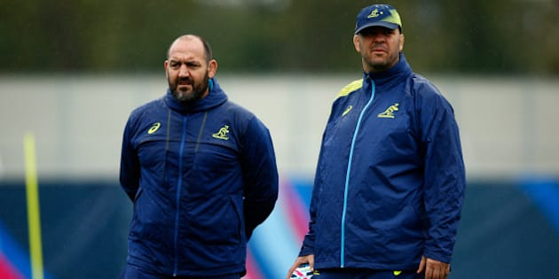 LONDON, ENGLAND - OCTOBER 05:  Michael Cheika, Head Coach of Australia (r) and Mario Ledesma, Scrum Coach of Australia look on during a training session at Dulwich College on October 5, 2015 in London, United Kingdom.  (Photo by Dan Mullan/Getty Images)