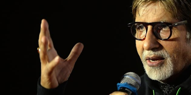 Indian Bollywood actor Amitabh Bachchan speaks during a news conference marking 40 years since the release of iconic Bollywood film 'Sholay' in Mumbai on August 14, 2015. AFP PHOTO/ PUNIT PARANJPE        (Photo credit should read PUNIT PARANJPE/AFP/Getty Images)