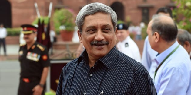 Indian Defence Minister Manohar Parrikar looks on as he waits to receive US Secretary of Defence Ashton Carter at the Ministry of Defence in New Delhi on June 3, 2015. AFP PHOTO / MONEY SHARMA        (Photo credit should read MONEY SHARMA/AFP/Getty Images)