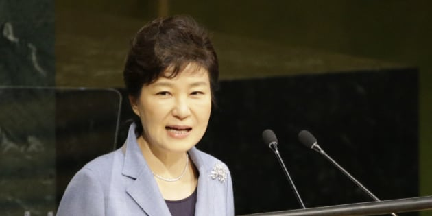 Korean President Park Geun-hye addresses the 70th session of the United Nations General Assembly at U.N. headquarters, Monday, Sept. 28, 2015. (AP Photo/Mary Altaffer)