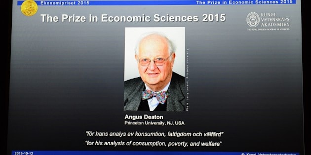 A portrait of US-British winner of the 2015 Nobel Economics Prize Angus Deaton is displayed on a tablet screen during a press conference at the Royal Swedish Academy of Sciences on October 12, 2015 in Stockholm. The economics prize is the only Nobel not originally included in Alfred Nobel's last will and testament. It was established in 1968 by the Swedish central bank to celebrate its tricentenary. AFP PHOTO / JONATHAN NACKSTRAND        (Photo credit should read JONATHAN NACKSTRAND/AFP/Getty Images)