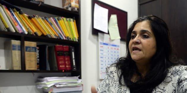 To go with 'India-politics-rights-crime' INTERVIEW by Peter HUTCHISON In this photograph taken on July 22, 2015, Indian activist Teesta Setalvad speaks to AFP during an interview at her lawyer's office in Mumbai.  A long-time critic of Indian Prime Minister Narendra Modi over religious riots 13 years ago says an investigation into allegations she received illegal funding is a 'vendetta' designed to silence her. Activist Teesta Setalvad told AFP she was being targeted by the government because of her fierce criticism of Modi following deadly violence in Gujarat state in 2002 when he was chief minister. AFP PHOTO/INDRANIL MUKHERJEE        (Photo credit should read INDRANIL MUKHERJEE/AFP/Getty Images)