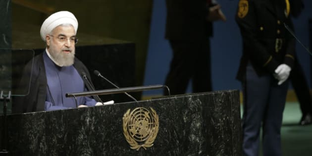 Iranian President Hassan Rouhani addresses the 70th session of the United Nations General Assembly at U.N. headquarters, Monday, Sept. 28, 2015. (AP Photo/Mary Altaffer)