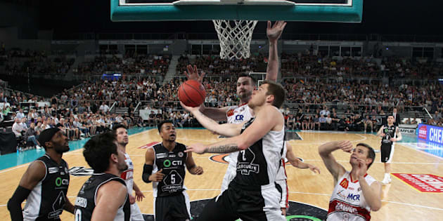MELBOURNE, AUSTRALIA - OCTOBER 11:  Igor Hadziomerovic of United charges towards the basket during the round one NBL match between Melbourne United and the Illawarra Hawks at Hisense Arena on October 11, 2015 in Melbourne, Australia.  (Photo by Quinn Rooney/Getty Images)
