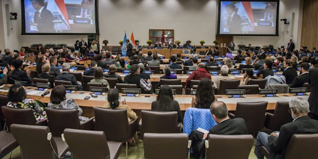 UNITED NATIONS, NEW YORK, UNITED STATES - 2015/10/02: Attendees of the event fill the UN's Conference Room 1.  A special event organized by the Permanent Mission of India to the United Nations was convened to celebrate the International Day of Non-Violence, marking the birthday of Mahatma Gandhi and his legacy. (Photo by Albin Lohr-Jones/Pacific Press/LightRocket via Getty Images)