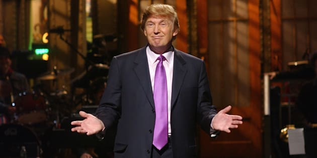 SATURDAY NIGHT LIVE -- Episode 16 -- Air Date 04/03/2004 -- Pictured: Host Donald Trump during the monologue on April 3, 2004  (Photo by Mary Ellen Matthews/NBC/NBCU Photo Bank via Getty Images)