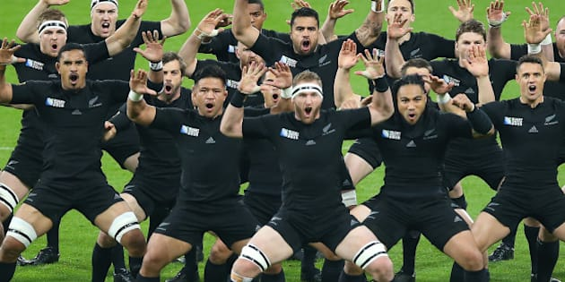 NEWCASTLE, ENGLAND - OCTOBER  09:  New Zealand preform the Haka during the New Zealand and Tonga  Group C, Rugby World Cup match at St James Park on October 09, 2015 in Newcastle, England. (Photo by Ian MacNicol/Getty Images)